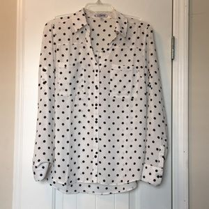 Black and White Polka Dot Button Up